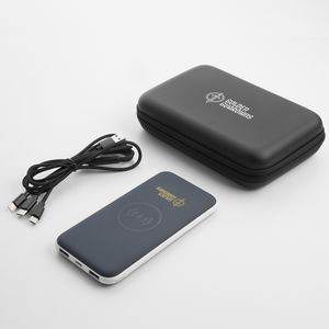 8,000mAh wireless charger Power Bank with 3-in-1 Cable Gift Set